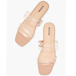 NEW Just Fab Clear Flat Sandals - Nude